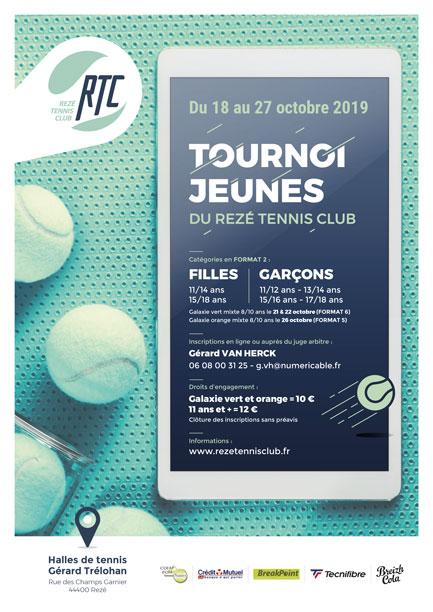 Tournoi Jeunes vacances de la Toussaint au RTC du 18 au 27 octobre 2019.